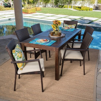 Geelong 7pc Acacia Wood & Wicker Patio Dining Set - Brown - Christopher Knight Home