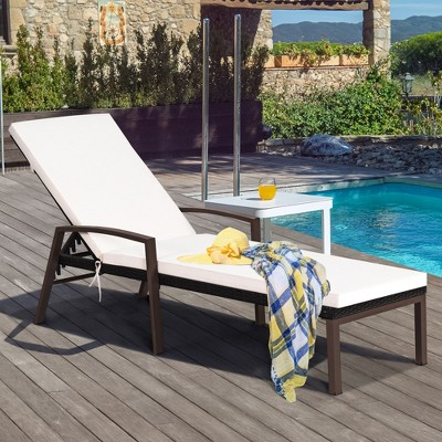 Costway Patio Rattan Lounge Chair Recliner Back Adjustable Cushioned Garden