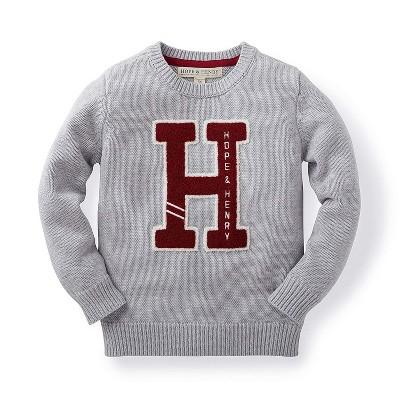 Hope & Henry Boys' Grey Pull-Over Sweater, Kids