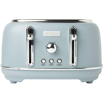 Haden Highclere Innovative 4 Slice Retro Vintage Countertop Wide Slot Toaster Kitchen Appliance with Self Centering Function, Pool Blue