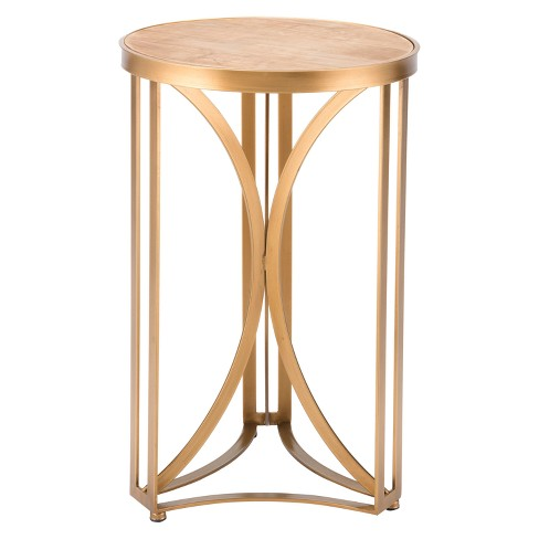 "15"" Luxe Round Steel Accent Table - Gold - ZM Home - image 1 of 1"