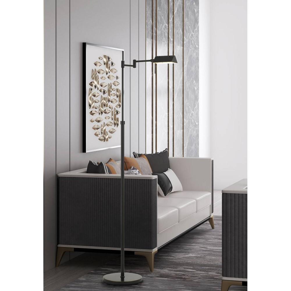 Clemson Metal Led Pharmacy Swing Arm Adjustable Floor Lamp Dark Bronze (Includes Energy Efficient Light Bulb) - Cal Lighting