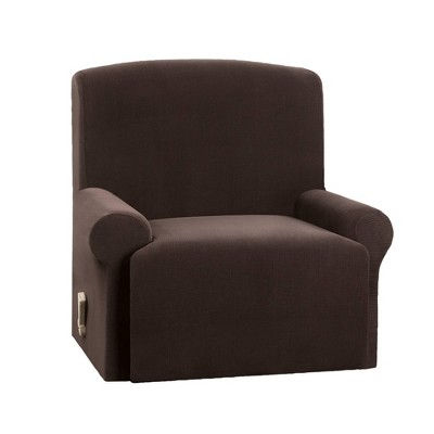 Stretch Micro Check Recliner Slipcover Chocolate - Sure Fit