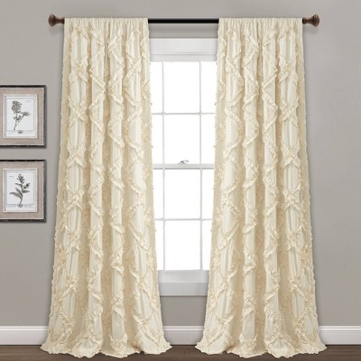 "84""x54"" Ruffle Diamond Window Curtain Set Ivory - Lush Décor"