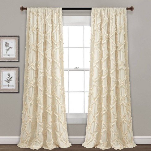 Set of 2 Ruffle Diamond Light Filtering Window Curtain Panels - Lush Décor - image 1 of 4