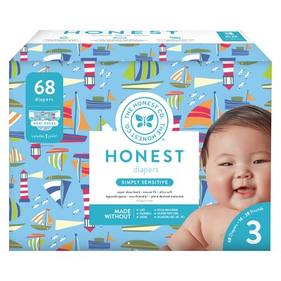 Honest Company Disposable Diapers, Boat Races - Size 3 (68ct)