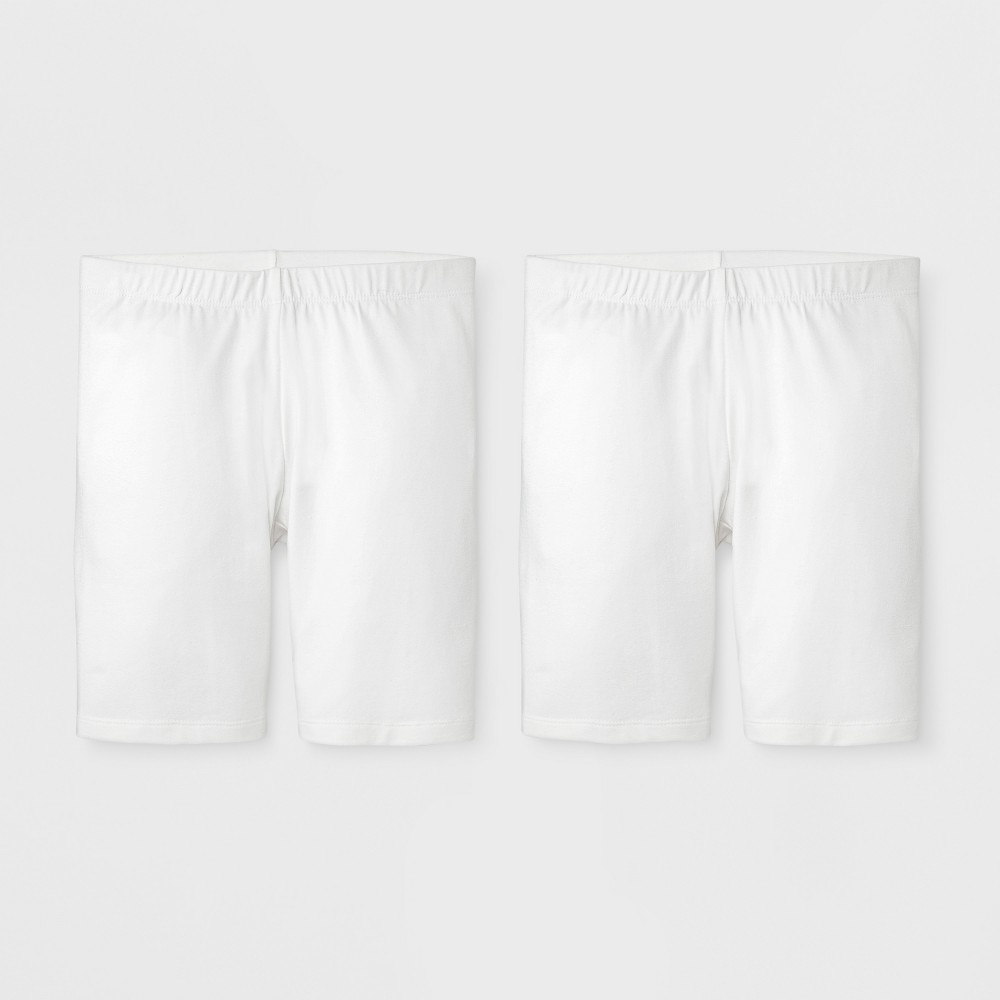 Girls' 2pk Bike Shorts - Cat & Jack White L