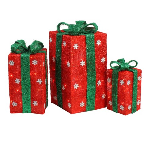 Lighted Christmas Boxes Decoration.Northlight Set Of 3 Tall Lighted Red Sisal Gift Boxes With Green Bows Outdoor Christmas Decorations