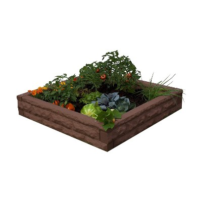 Good Ideas Garden Wizard Outdoor Self Watering Polyethylene Raised Garden Bed, Red Brick
