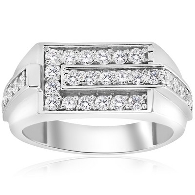 Pompeii3 3/4ct Diamond Mens Wedding Ring 10k White Gold