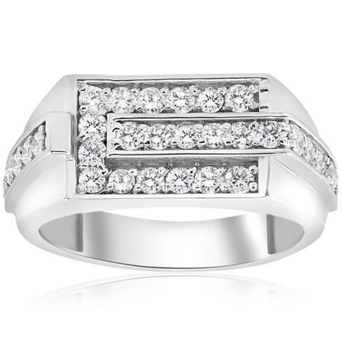 Pompeii3 3/4ct Diamond Mens Wedding Ring 10k White Gold - image 1 of 4