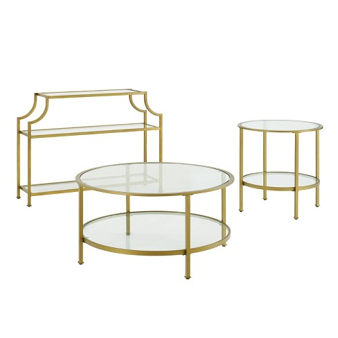 3pc Aimee Accent Table Set Gold - Crosley - image 1 of 4