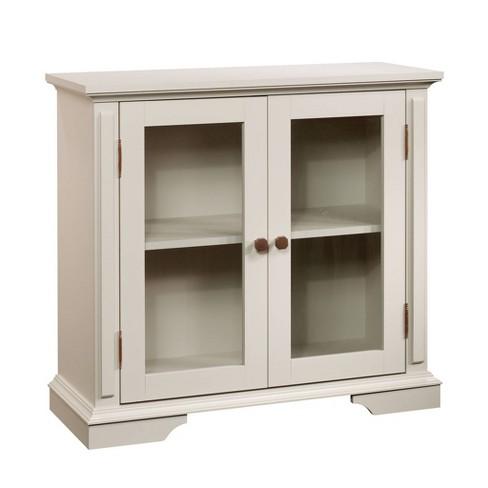 New Grange 2 Door Tempered Gl Display Cabinet Cobblestone Sauder Target