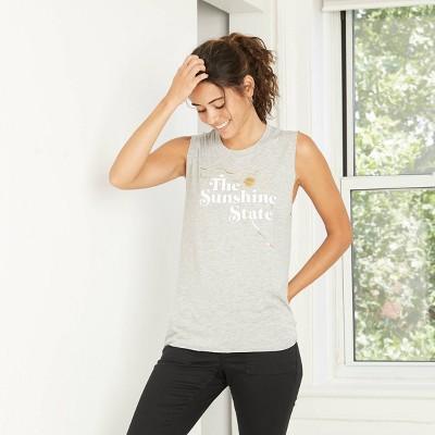 Women's Sunshine State Muscle Graphic Tank Top - Awake Heather Gray