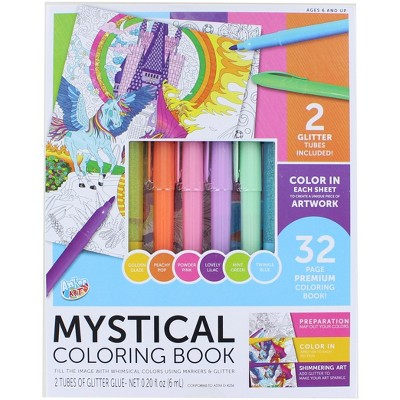 Anker Play Coloring Book Kit With 6 Glimmer Gel Pens   Mystical
