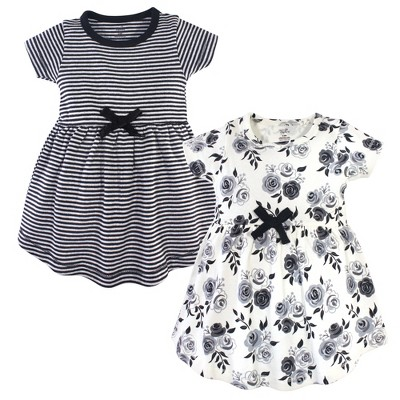 Touched by Nature Baby and Toddler Girl Organic Cotton Short-Sleeve Dresses 2pk, Black Floral