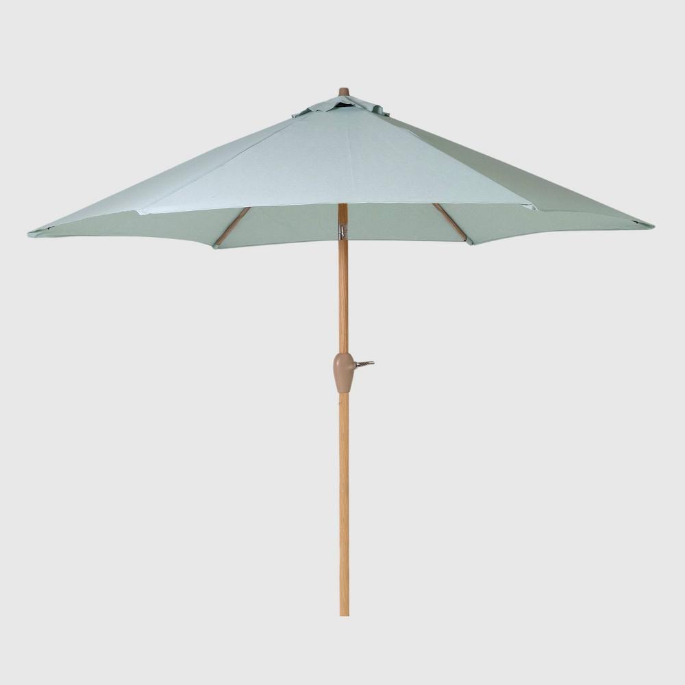 9' Round Patio Umbrella Aqua (Blue) - Light Wood Pole - Threshold