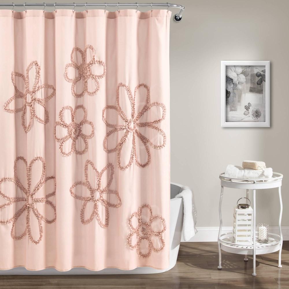 "Image of ""72""""X72"""" Single Ruffle Flower Shower Curtain Blush - Lush Décor"""