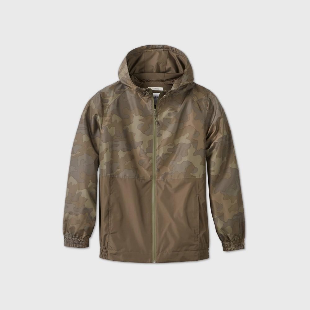 Men's Camo Print Colorblock Hooded Rain Jacket – Goodfellow & Co Camo S, Green