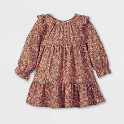 Toddler Girls' Floral Ruffle Long Sleeve Dress - Cat & Jack™ Brown