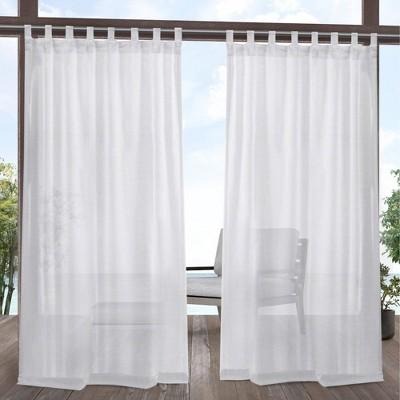 "120""x54"" Miami Semi Outdoor Sheer Curtain Panel White - Exclusive Home"