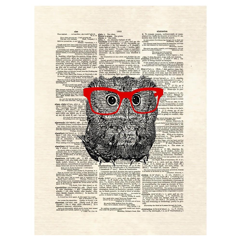 Smarty Owl by Matt Dinniman Unframed Wall Art Print, Red