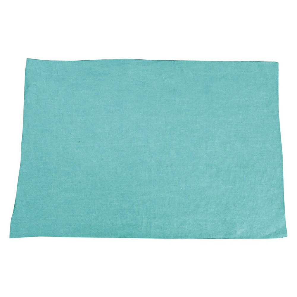 Fringed Design Stone Washed Placemats Sea Green Set Of 4