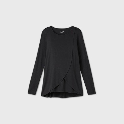 Maternity Long Sleeve Round Neck Cross Panel Nursing T-Shirt - Isabel Maternity by Ingrid & Isabel™ Black M