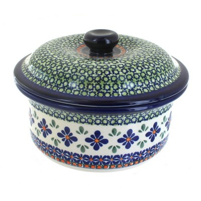 Blue Rose Polish Pottery Mosaic Flower Round Baker with Lid