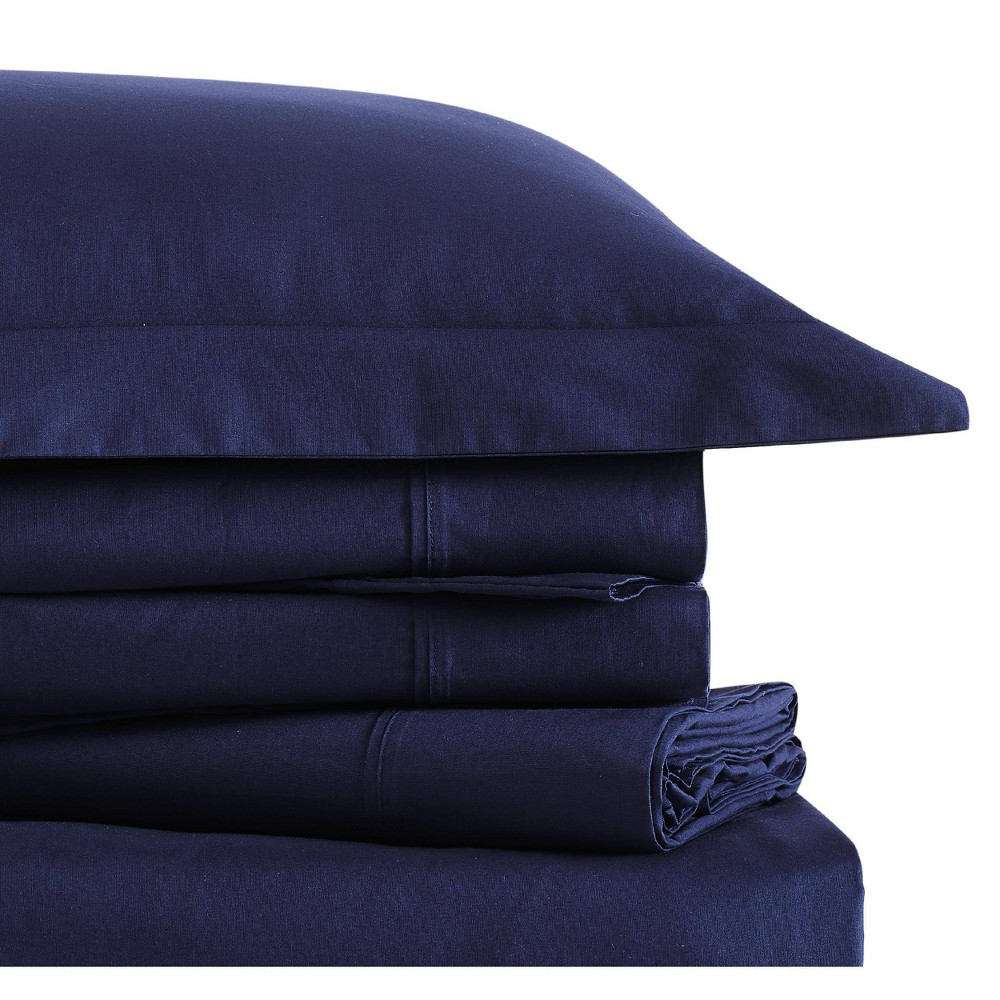 Image of Twin Classic Cotton Solid Sheet Set Navy - Brooklyn Loom, Blue