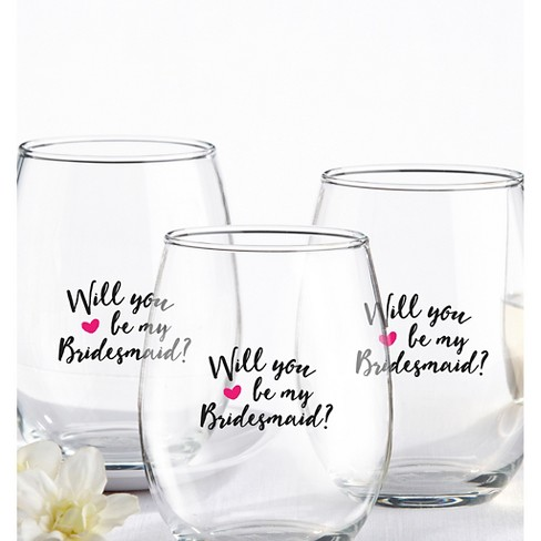 810acbdd1ed 4ct Kate Aspen Will You Be My Bridesmaid Pink Heart 15 Oz. Stemless Wine  Glass
