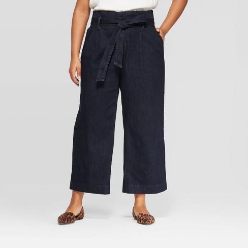Women's Plus Size Paperbag Denim Pants - A New Day™ Indigo - image 1 of 3