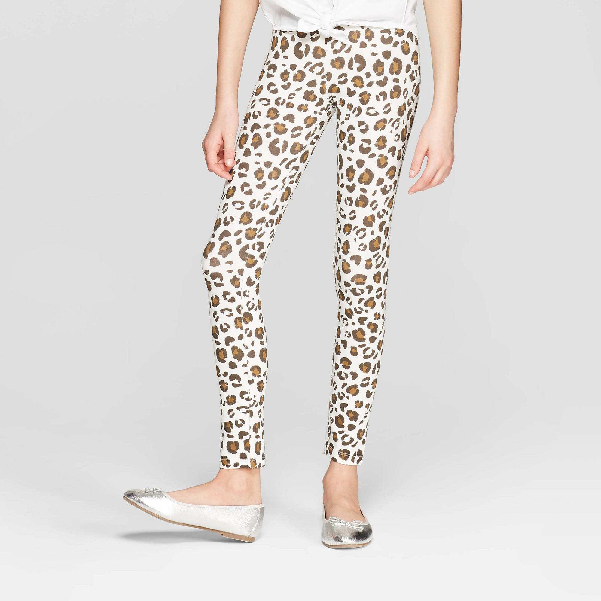 Girls' Animal Print Leggings - Cat & Jack Almond Cream L, White