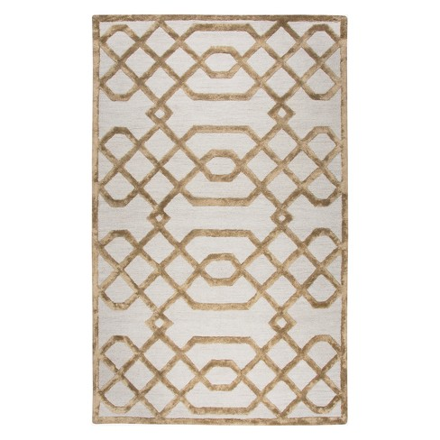 Cream Geometric Tufted Area Rug 5 X8 Rizzy Home