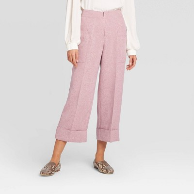 Women's Mid-Rise Wide Leg Cropped Trousers - Prologue™ Mauve