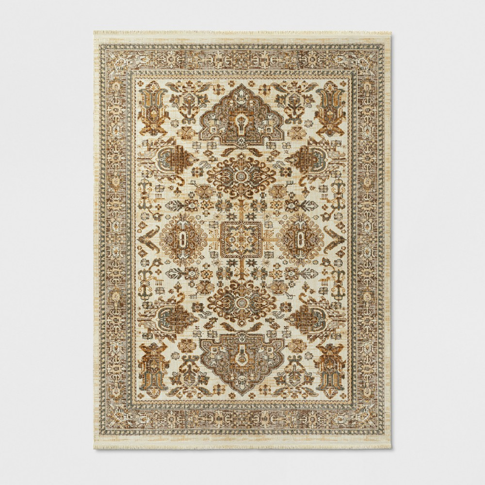5'x7' Woven Area Rug Floral Cream (Ivory) - Threshold