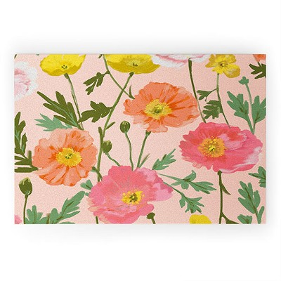 Alison Janssen Large Poppy Coral Looped Vinyl Welcome Mat - Society6