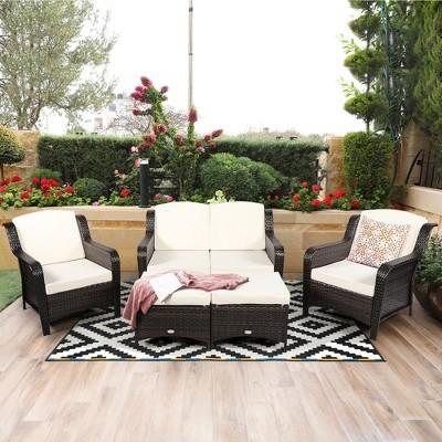 Costway 5PCS Patio Rattan Furniture Set Loveseat Sofa Ottoman Off White Cushion