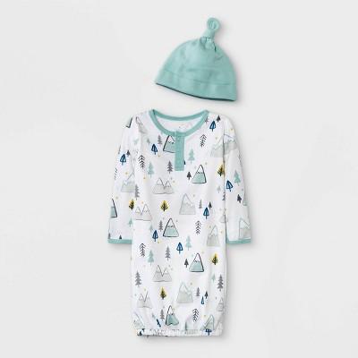 Baby Boys' 2pc 'Adventure Awaits' Nightgown with Hat - Cloud Island™ Green Newborn