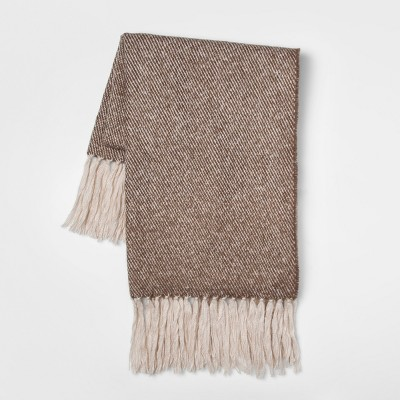 60 x50  Faux Mohair Twill Throw Blanket Neutral - Threshold™