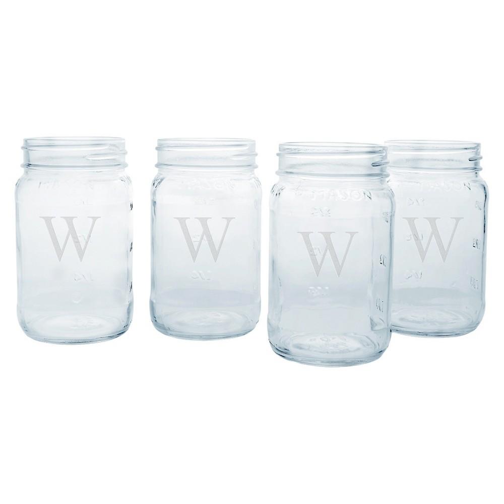 4ct Monogram Wedding Mason Jars