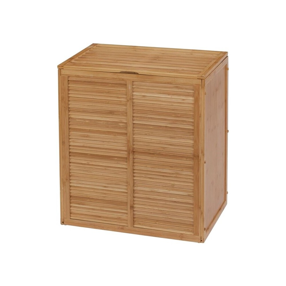 Image of Ecostyle Louver Double Hamper Light Brown Bamboo - Creative Bath