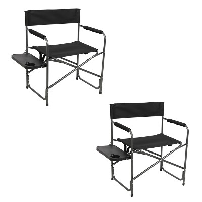 Portal Indoor Outdoor Portable Lightweight Steel Frame Folding Camping Directors Chair with Side Table, Black (2 Pack)