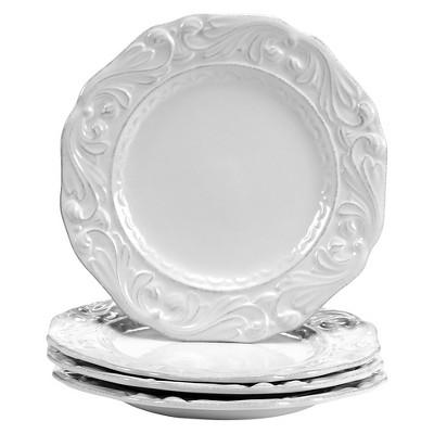 """Certified International Firenze Ivory Dessert Plates - 9.5""""x9.5"""" Set of 4"""