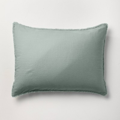 Standard Heavyweight Linen Blend Pillow Sham Sage Green - Casaluna™