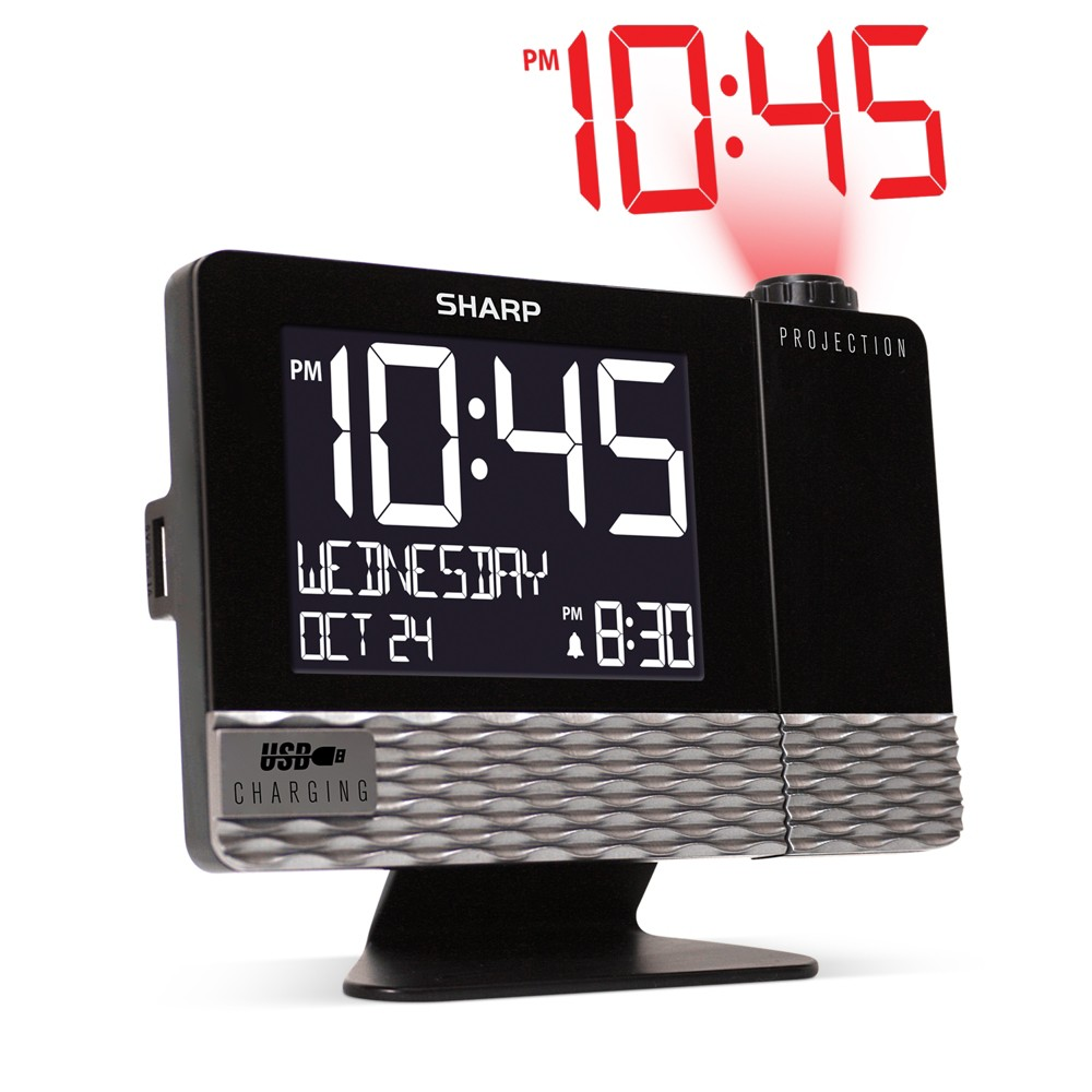 Image of Projection With Usb Charge Table Clock Black - Sharp