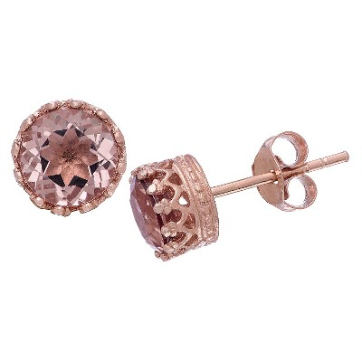 6mm Round-cut Morganite Quartz Crown Earrings in Rose Gold Over Silver