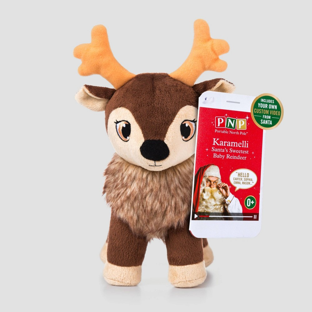 Image of Karamelli Stuffed Reindeer Decorative Figurine - Portable North Pole, Brown