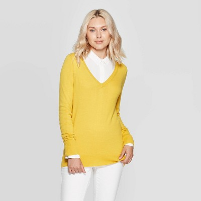 Women's Ribbed Cuff V-Neck Pullover Sweater - A New Day™ Gold S