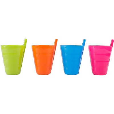 Basicwise 10 OZ Reusable Plastic Cups with Straw Blue, Pink, Green, and Orange, Set of 4